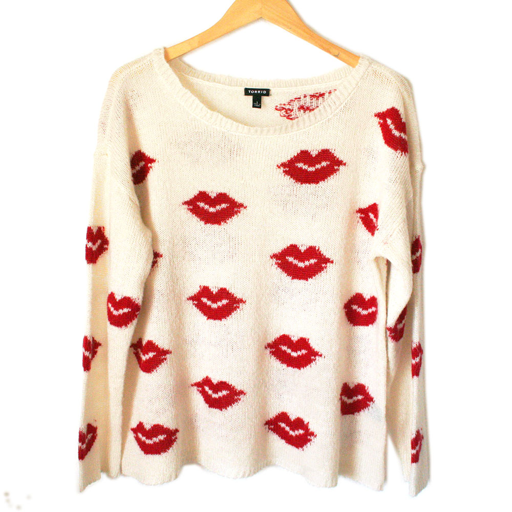 Torrid Hot Lips Lightweight Semi Sheer Valentines Day Ugly Sweater